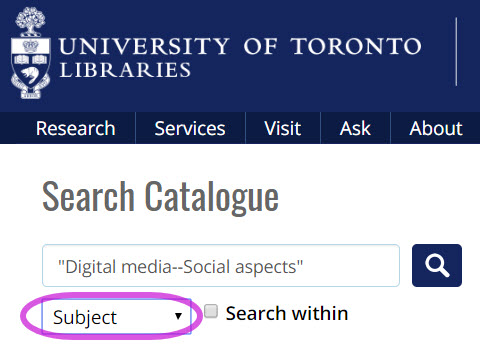 screen shot of a recommended subject search in the UTL catalogue