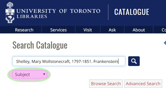 screen shot of catalogue search in subject index for Frankenstein by Mary Shelley