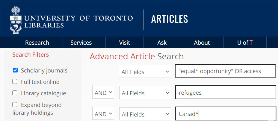 "Screenshot of Search Articles' advanced search with search terms entered in three rows as follows ""equal* opportunity"" OR access AND refugees AND Canad*"