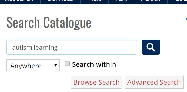 screen shot of a catalogue search by keywords auttism learning
