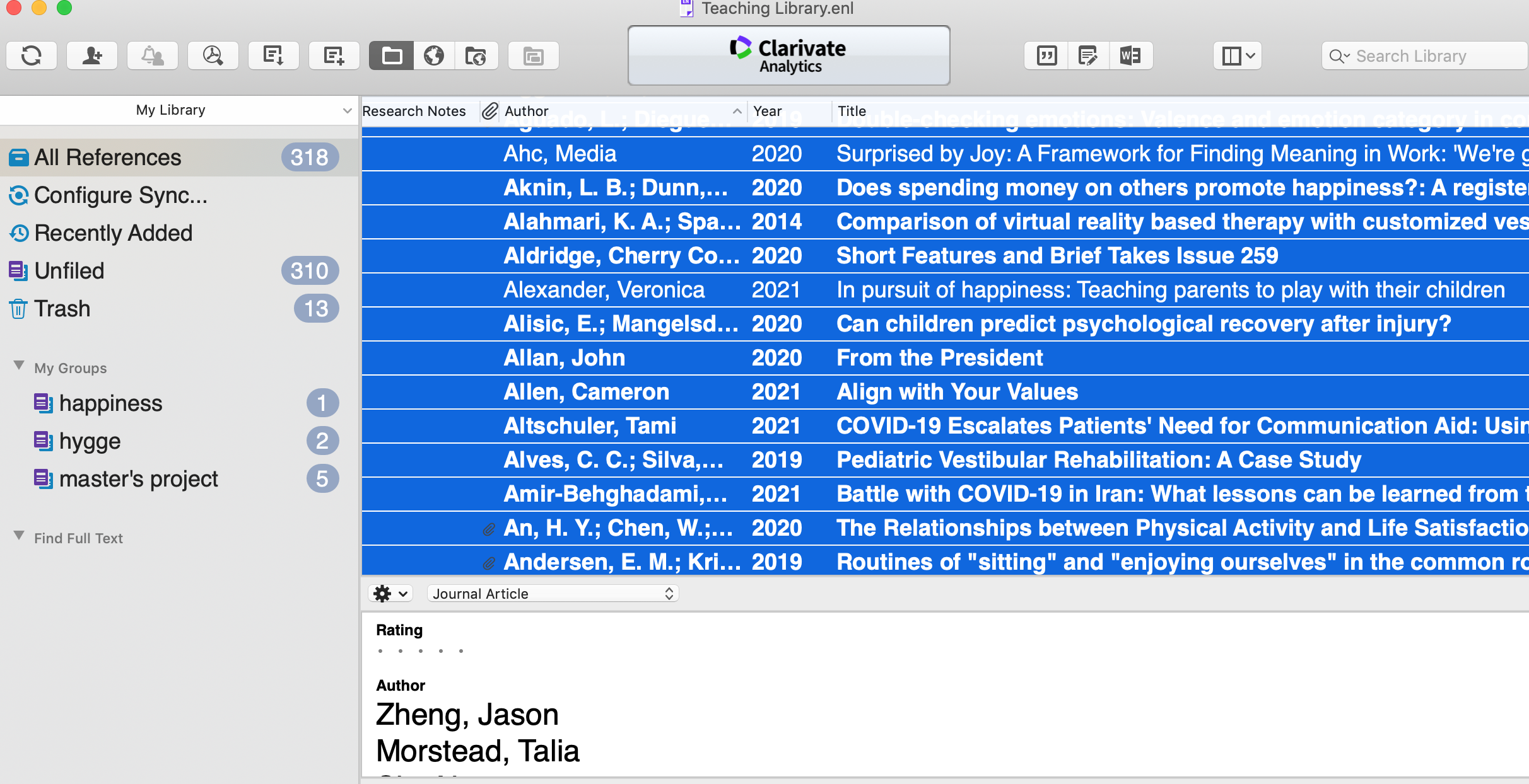Screenshot of EndNote with all references highlighted