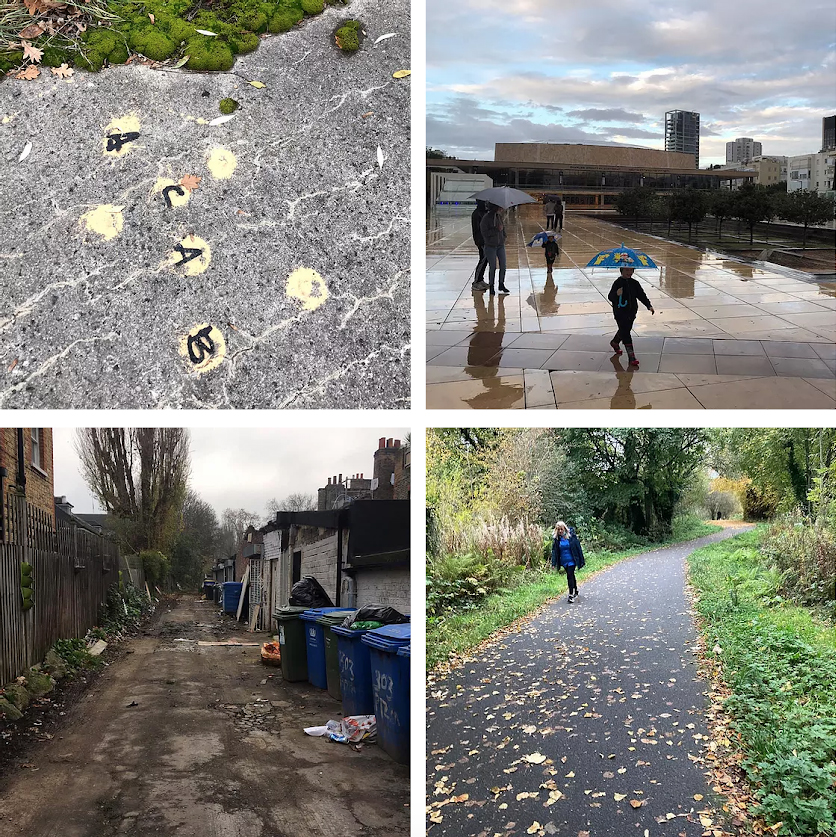 A grid of four photographs taken on urban walks showing paths and alleys
