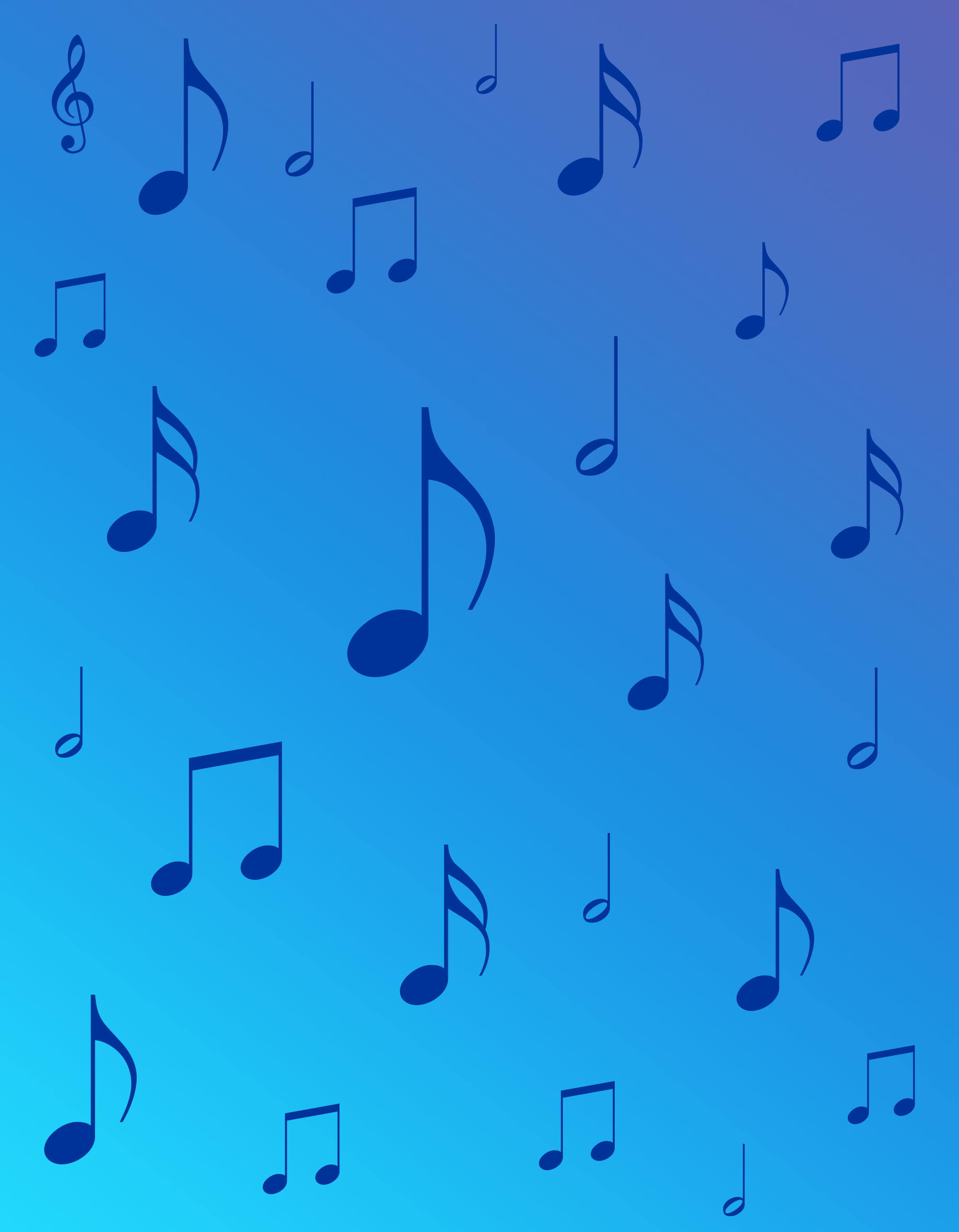 Musical notes over a blue gradient background