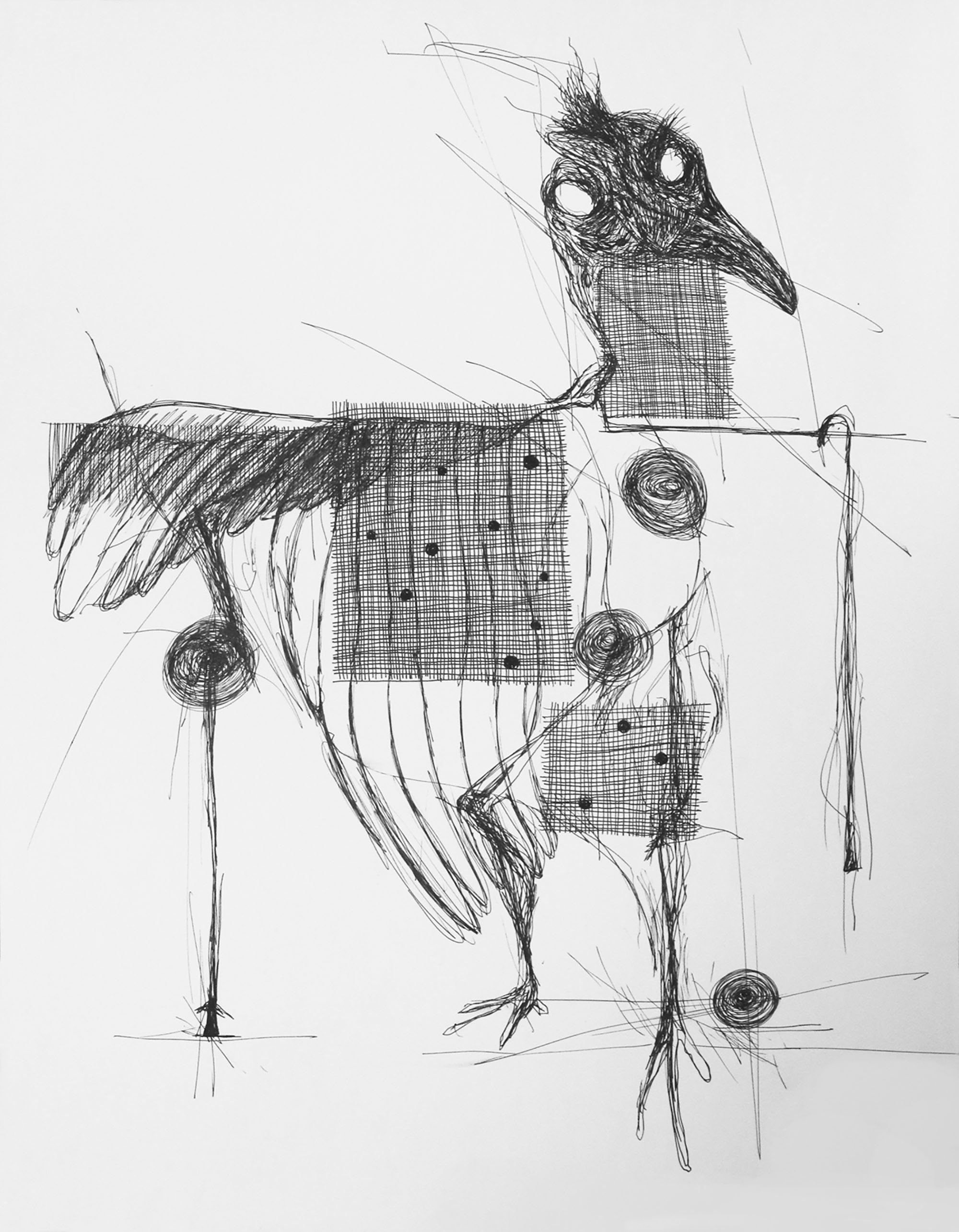 Black and white abstracted line drawing featuring bird forms, spirals and crosshatched grids.