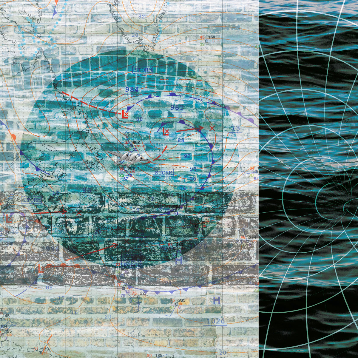 Collage of overlapping images including a brick wall, a blue circle, topographic map markings and lines of warped space-time over water