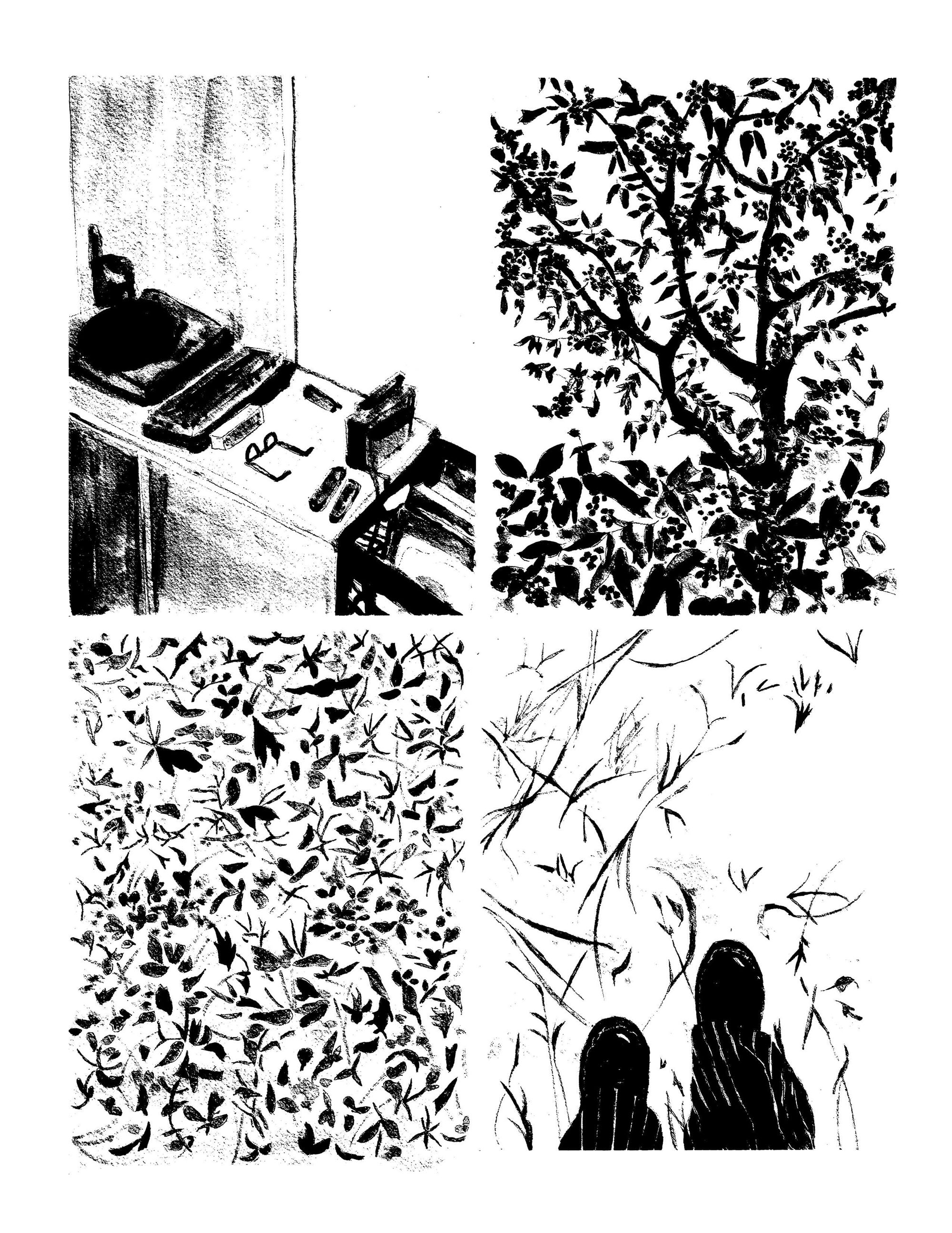 Grid of four black and white illustrations of: a desk with office objects on it; a tree with birds; leaves with insects; and two silhouettes of people in front of long grass.