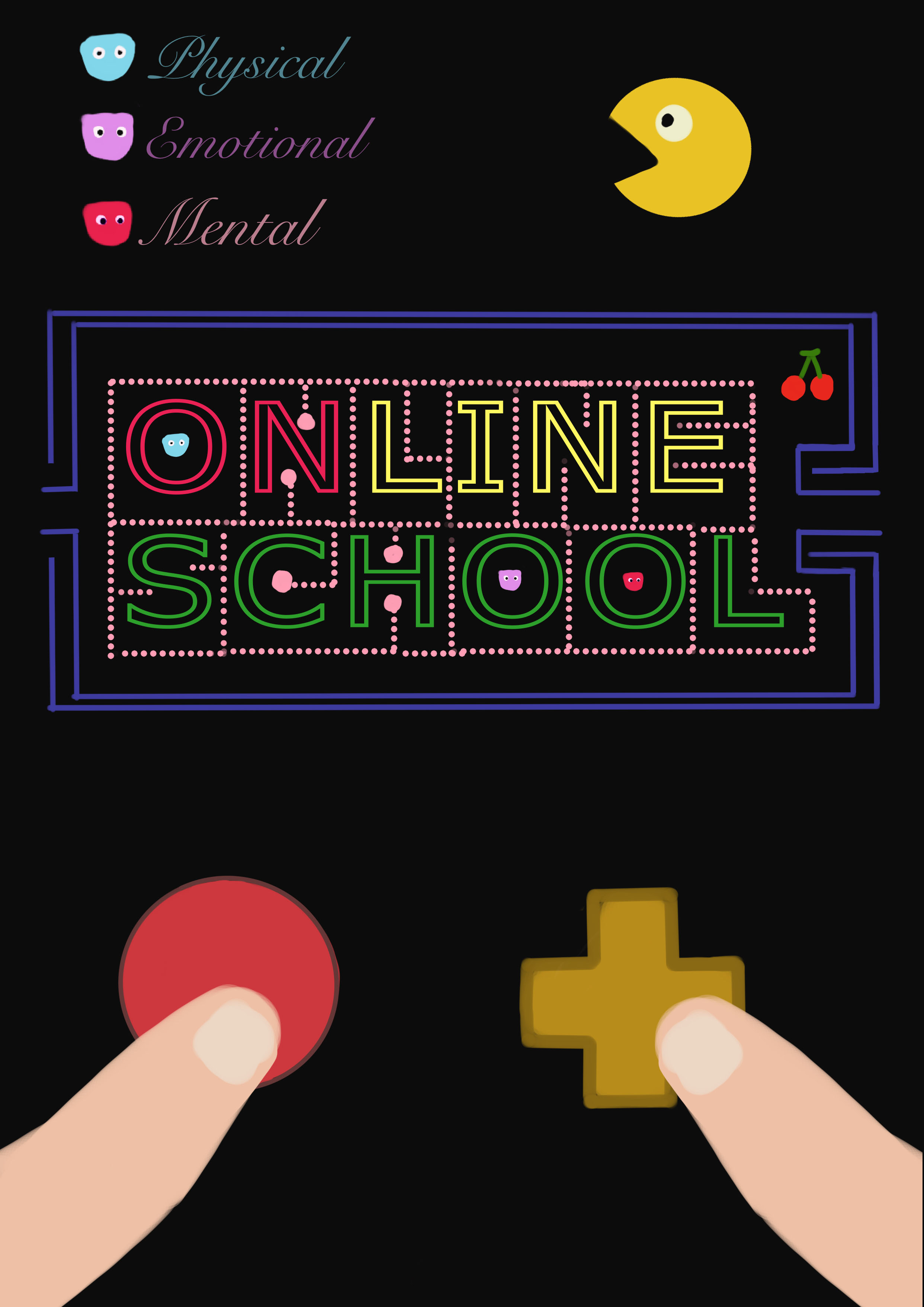 Decorative image reminiscent of pac-man video game graphics and two fingers pressing gameboy buttons, with the text Physical, Emotional, Mental, Online School