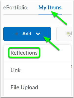 option to add a reflection