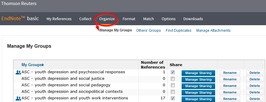 screenshot of endnote web's organization page