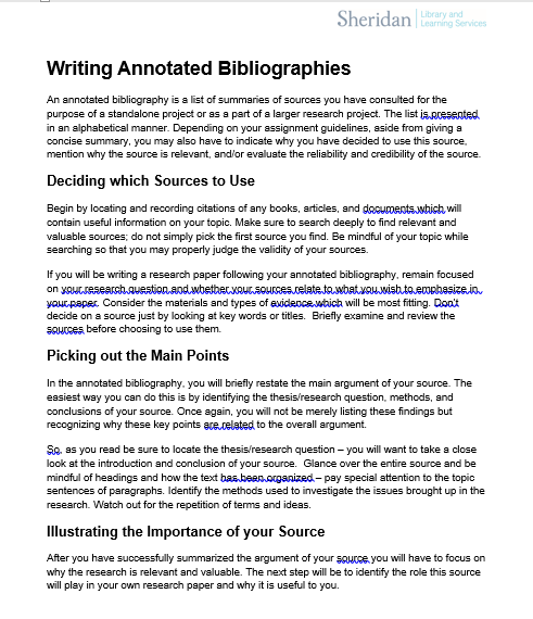Introduction Annotated Bibliographies Guides At Sheridan Library