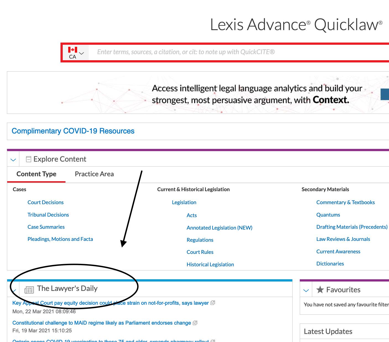 Screenshot of LexisNexis