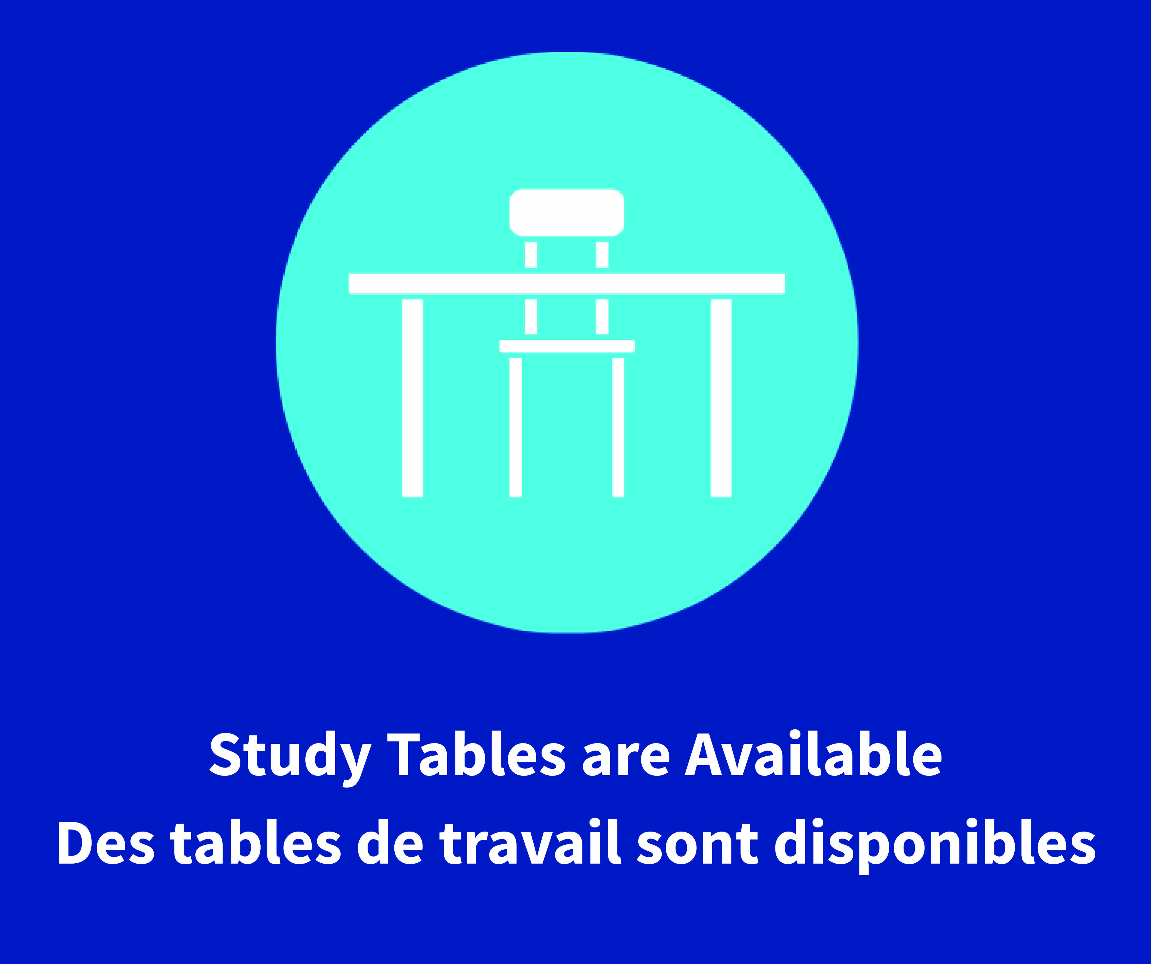 Study tables are available