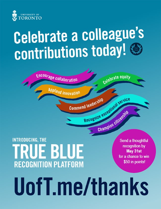 poster promoting the True Blue Recognition Platform