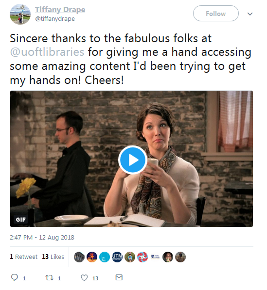 tweet from user thanking librarians