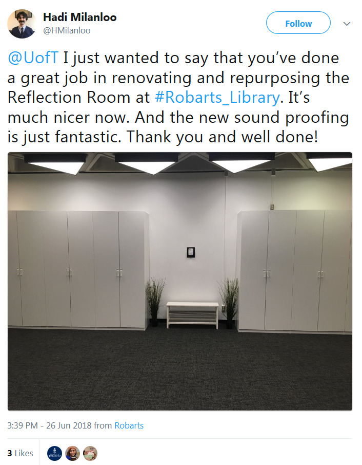 tweet about the Reflection Room's renovation at Robarts