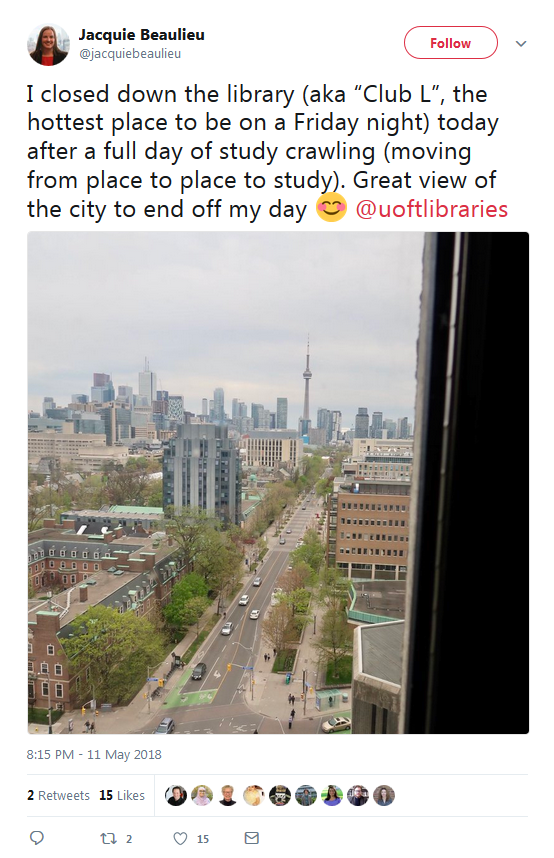 "Tweet calling the library ""Club L"" with a picture of an evening view from Robarts Library"