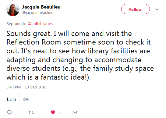 tweet about the Reflection Room and Family Study Space