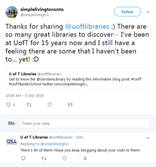 tweet from blogger about uoft libraries