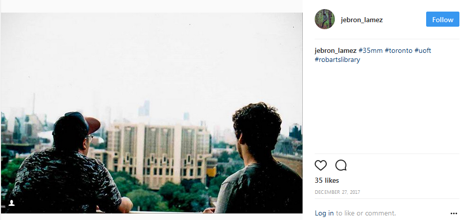 instagram screenshot showing two students overlooking Robarts library