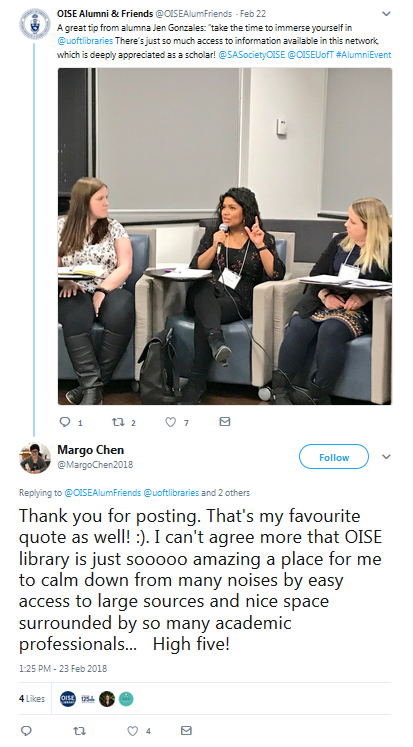 tweet from OISE Alumni showcasing UofT Library, with reply from user saying how much they love OISE library
