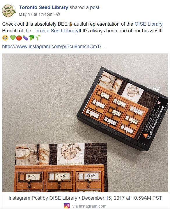 Facebook post from Toronto Seed Library sharing OISE's Instagram image