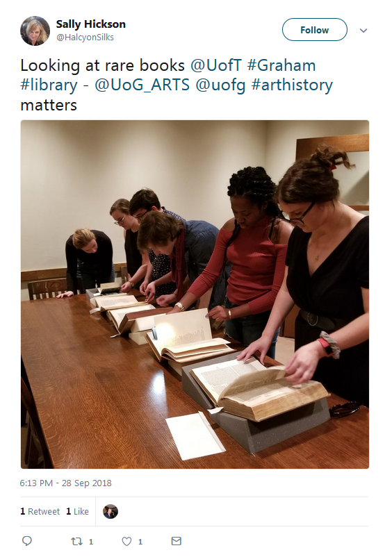 tweet from visitor to Graham library looking at rare books