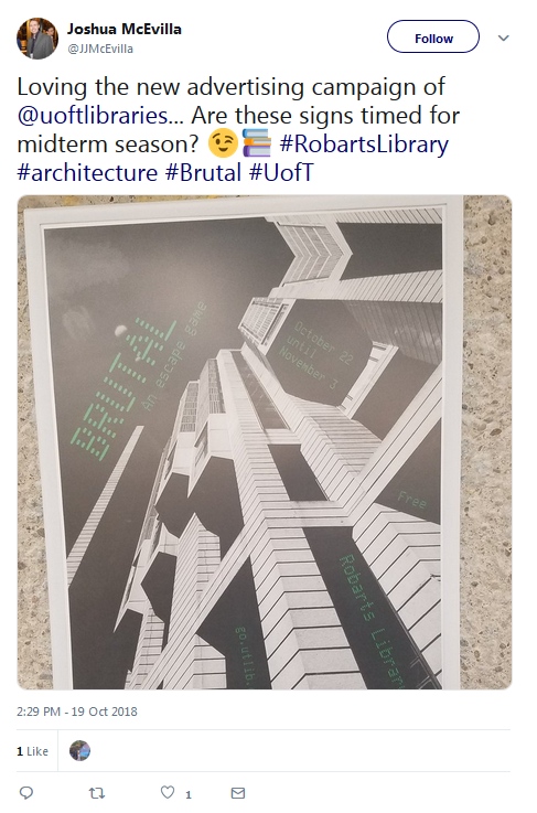 tweet about Robarts Library escape game