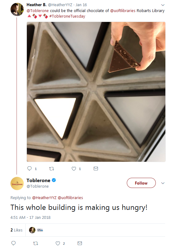 tweet describing the ceiling of Robarts as pieces of toblerone, with a repsonse from the official Toberlone twitter account saying Robarts make them hungry