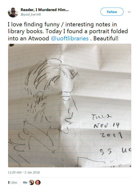 A tweet from @paul_barrett with an image showing a sketch of a person found in an Atwood novel