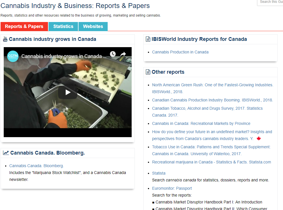 Cannabis industry and business research guide screenshot