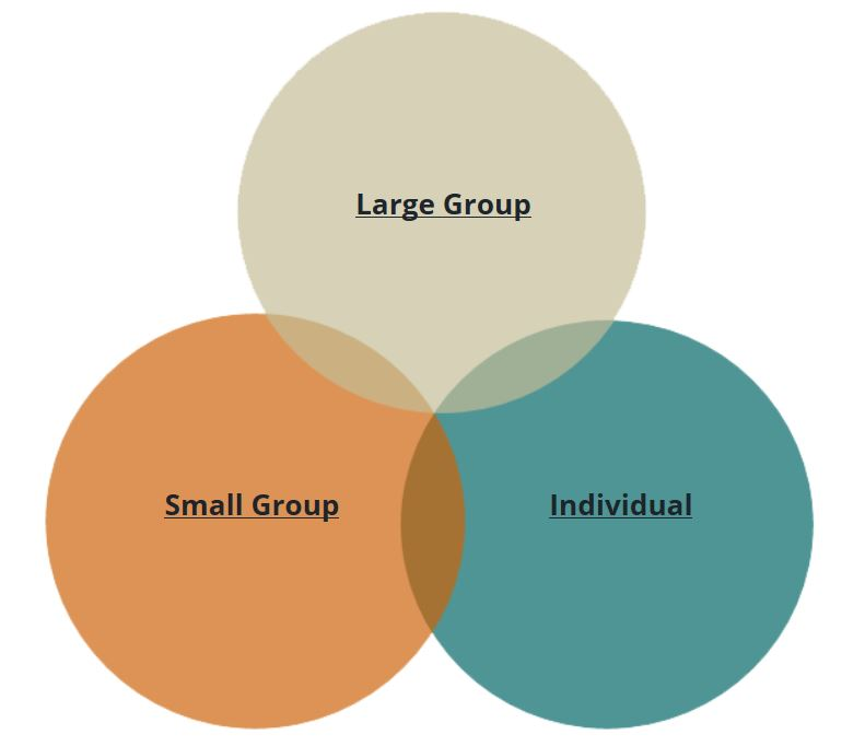 Active learning strategies can be created for large and small groups as well as individual learners.