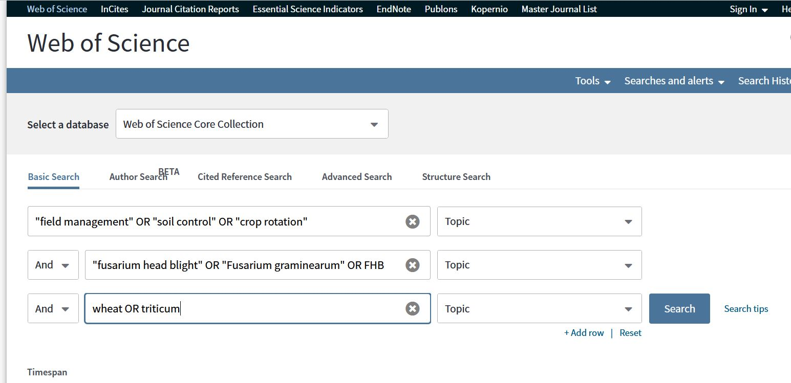 A screen shot of a sample search in Web of Science Core Collection database