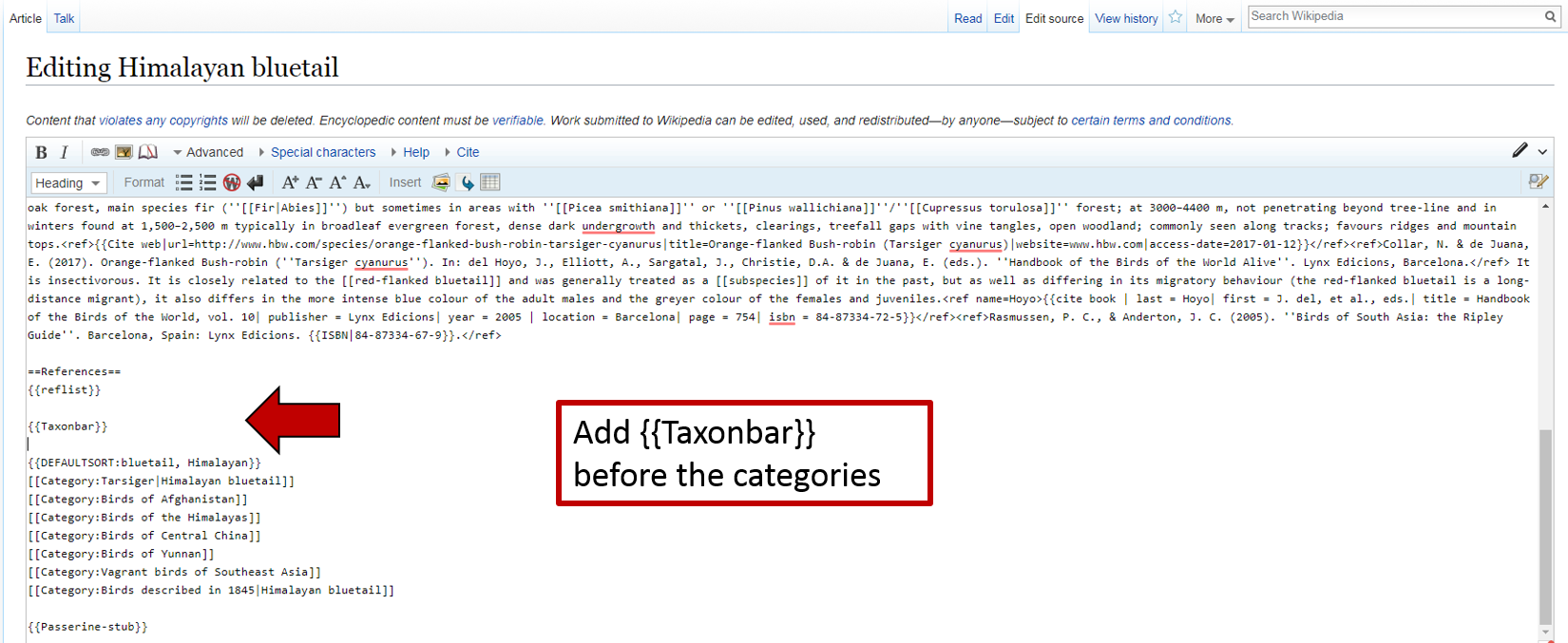 Image of how to add a taxon bar on Wikipedia article
