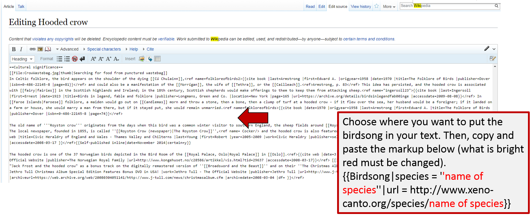 Screenshot of how to add the wiki markup to add birdsong to an article