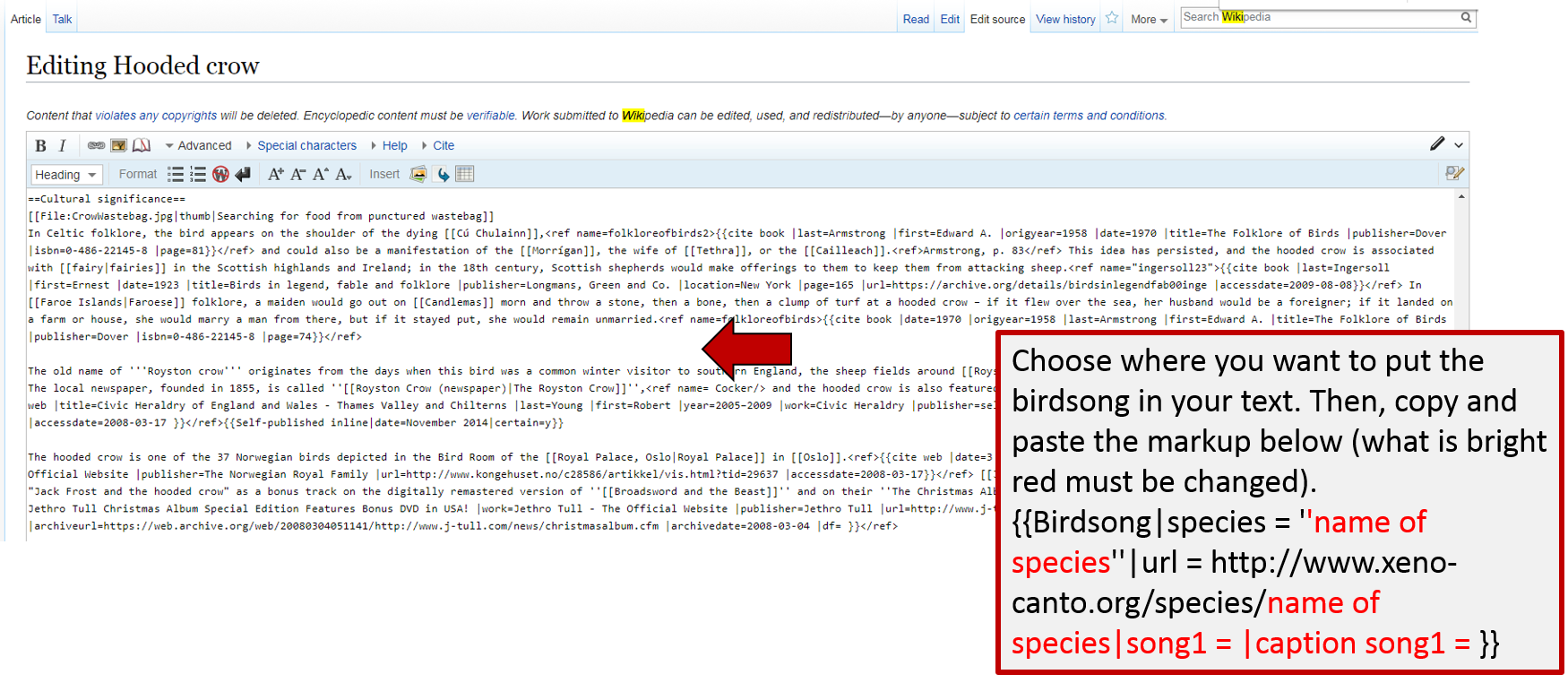 Screenshot of how to add the wiki markup to add a birdsong box to an article