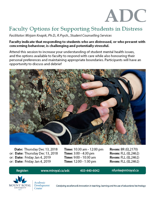 Faculty Options for Supporting Students in Distress
