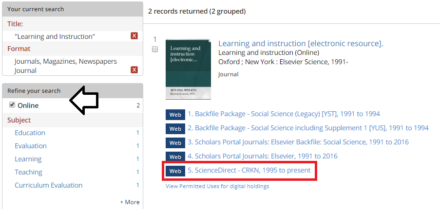 Sample search result in the Library catalogue