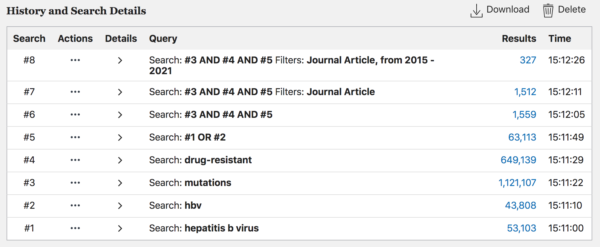 screenshot of a search strategy in PubMed