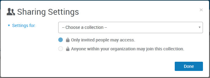 Sharing Settings - Choose a Collection
