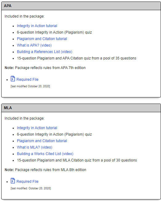 APA and MLA package content