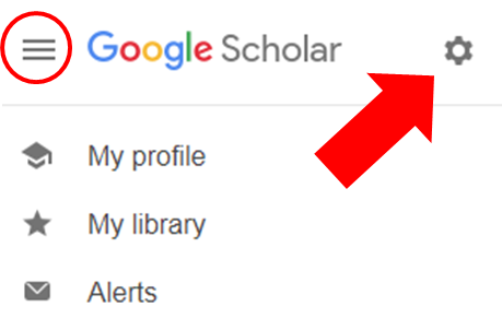 Arrow pointing at the gear icon in the Google Scholar's settings menu.