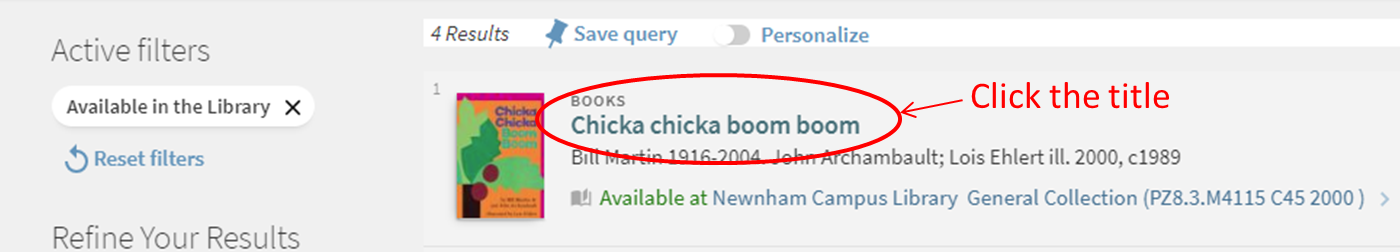 Library search results showing a book title highlighted