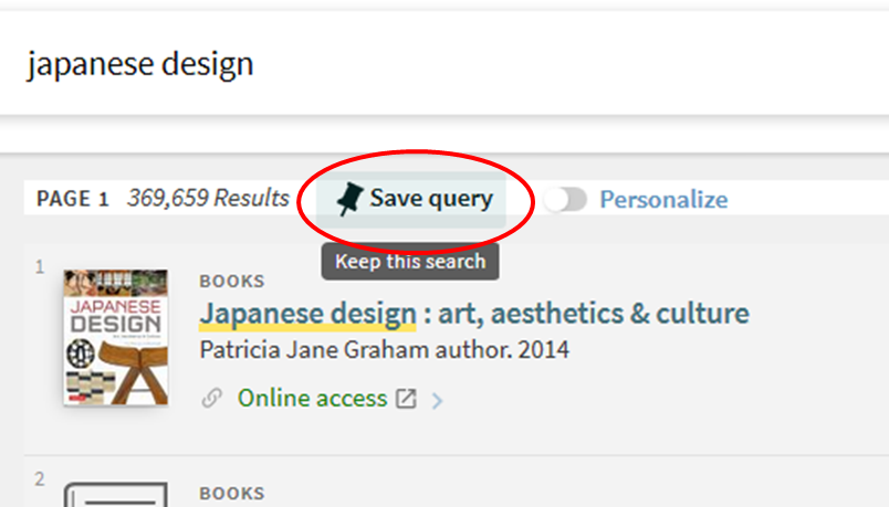 Save query link.