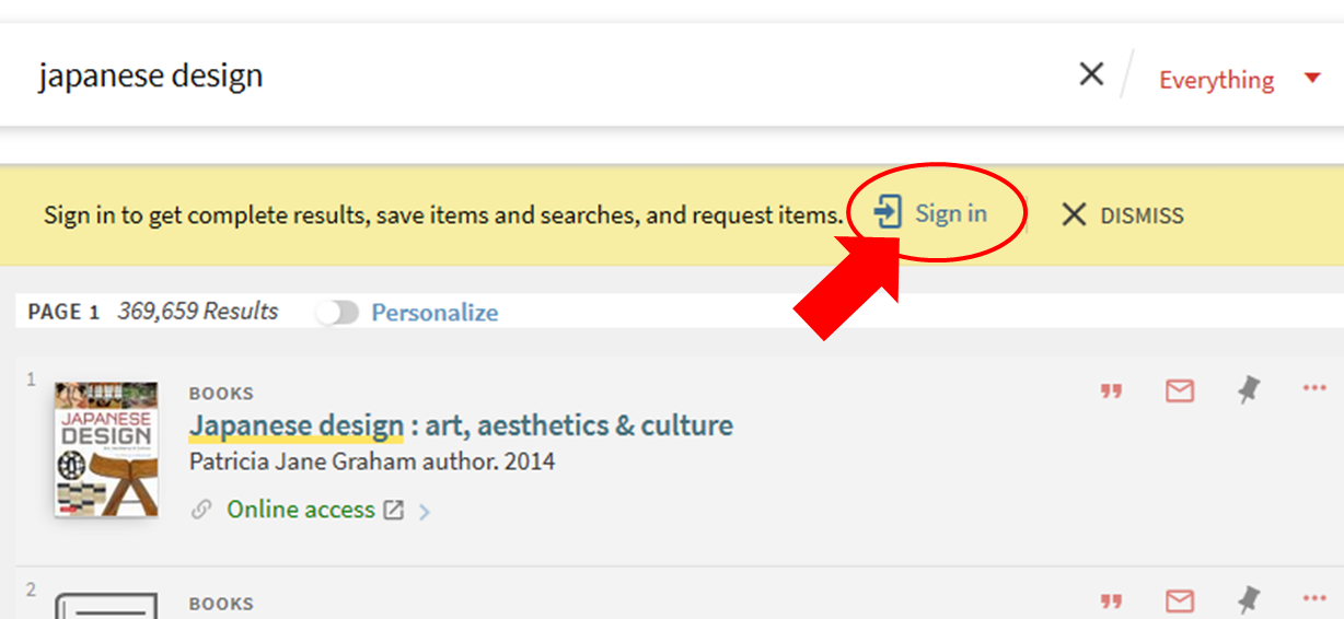 Sign in link on the Library Search page.