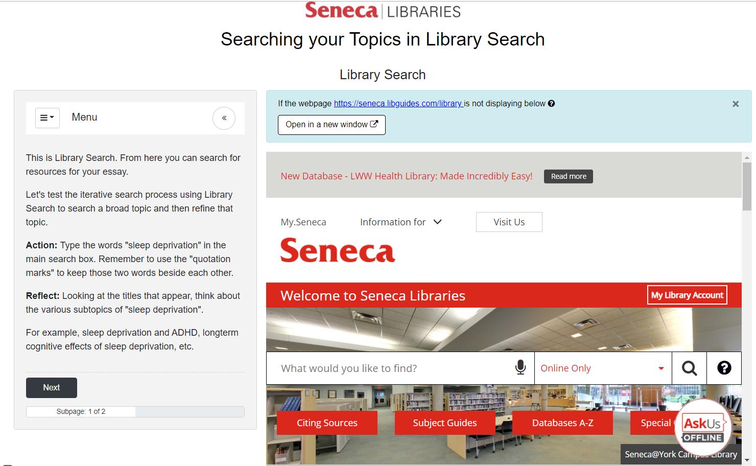 screensshot of library tutorial