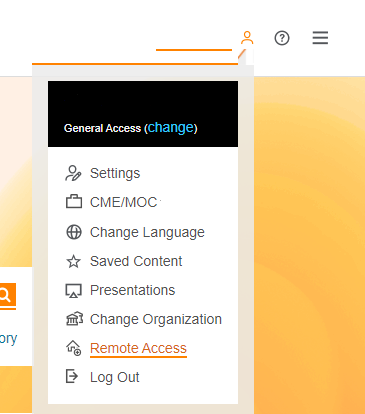 profile meny at ClinicalKey showing Remote Access highlighted
