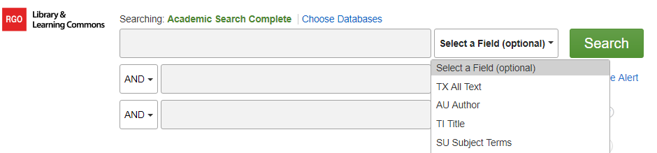 Database advanced search select a field drop down menu