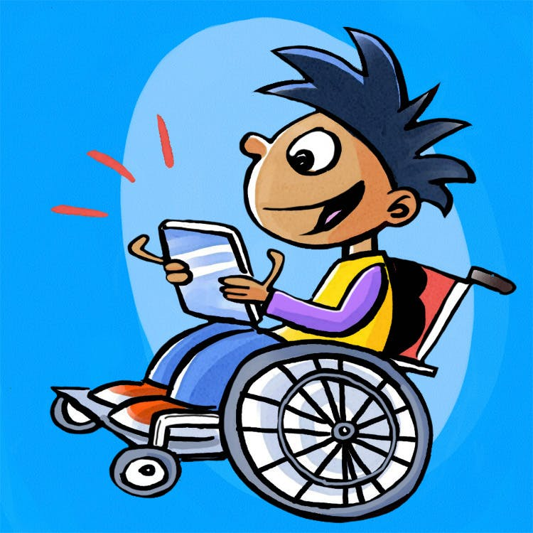 Child reading a tablet while sitting in a wheel chair