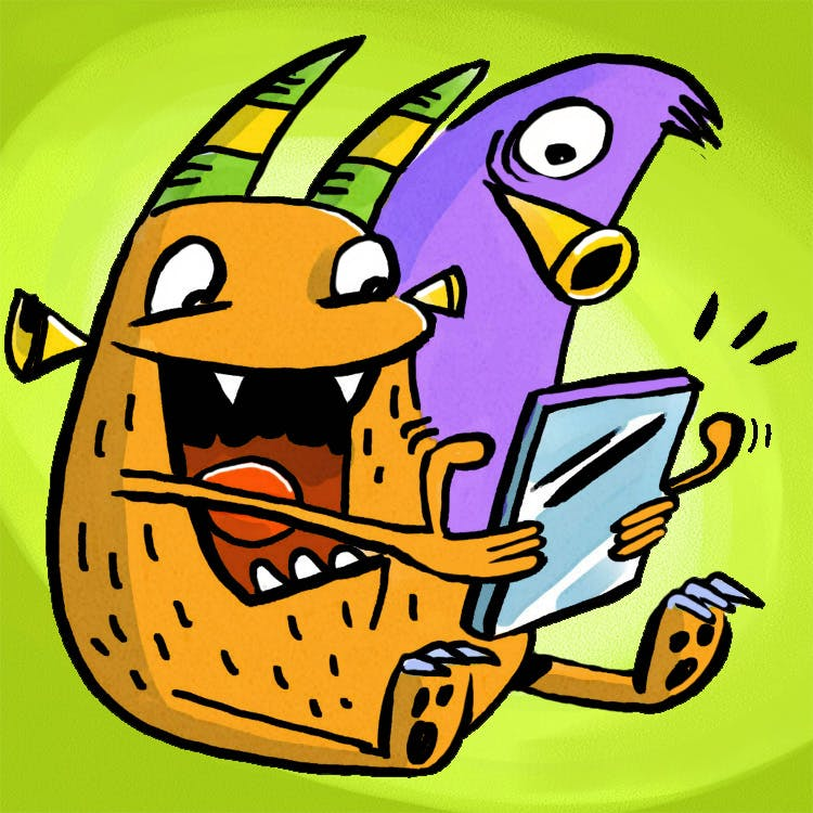 Monsters reading on a tablet