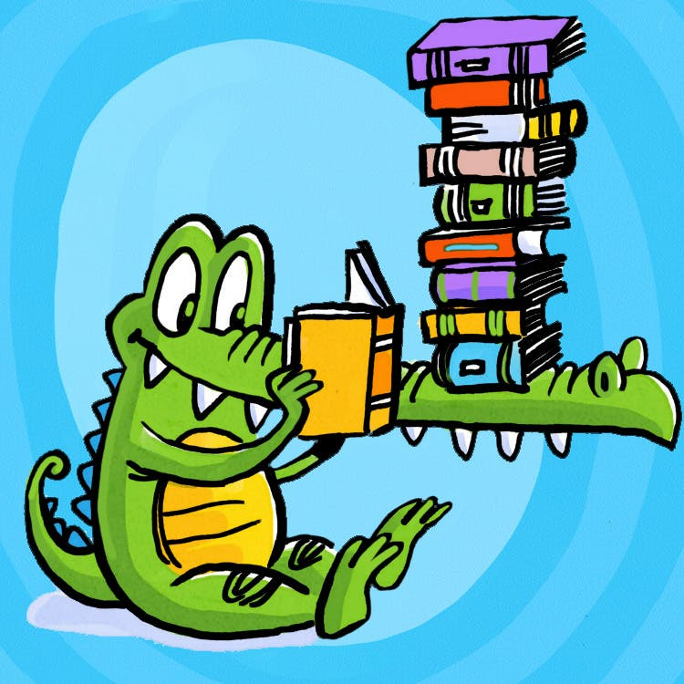 Alligator reads a book with a pile of books on his snout